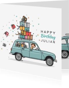Verjaardagskaarten - Verjaardagskaart Renault 4