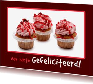Verjaardagskaarten - Verjaardagskaart roze Cupcake - OT