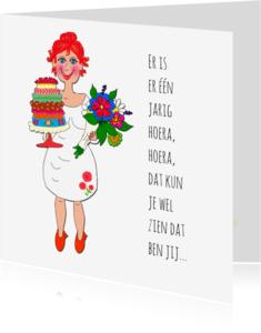 Verjaardagskaarten - Verjaardagskaart taart en bloemen