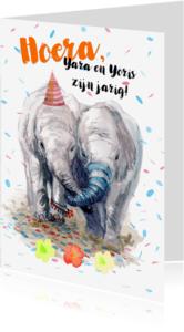 Verjaardagskaarten - Verjaardagskaart tweeling met olifantjes