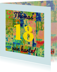 Verjaardagskaarten - Verjaardagskaart vierkantjes IW