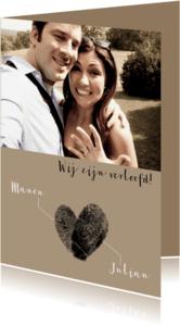 Trouwkaarten - Verlovingskaart vingerafdrukken