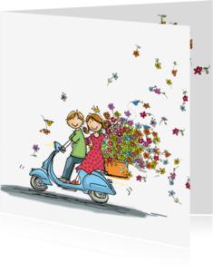 Vriendschap kaarten - Vespa scooter met bloemen