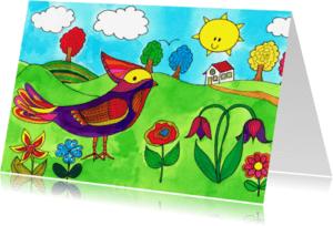 Dierenkaarten - Vogel tussen de bloemen