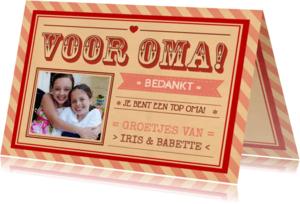 Opa & Omadag kaarten - Voor Oma - Bedankt - Vintage