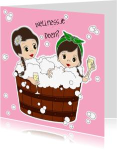 Vriendschap kaarten - Vriendinnen in hot tub