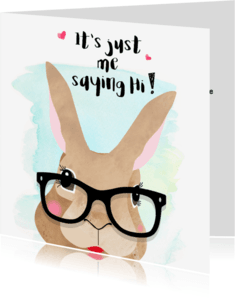"""Vriendschap kaarten - """"Vriendschapskaartje bunny just saying hi - SD"""""""