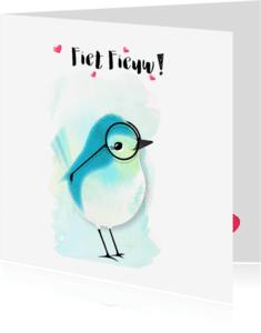 """Vriendschap kaarten - """"Vriendschapskaartje flirtende vogel met bril - SD"""""""