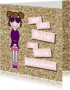 Verjaardagskaarten - Vrolijke meiden glitter felicitatie