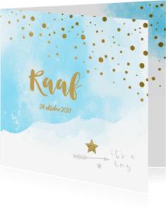 Geboortekaartjes - Watercolor confetti geboortekaartje jongen - LO