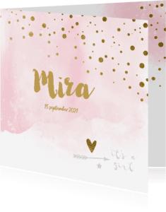 Geboortekaartjes - Waterverf confetti geboortekaartje meisje - LO