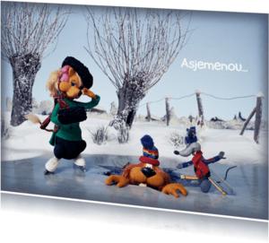 Wenskaarten divers - Wenskaart Loeki op de schaats -A