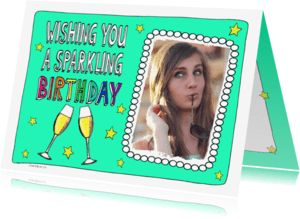 Verjaardagskaarten - Wishing you a sparkling birthday champagneglazen - SD