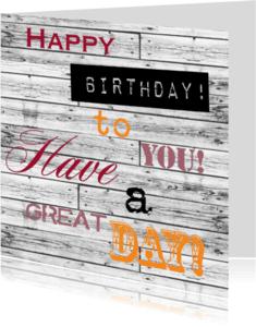 Verjaardagskaarten - Woorden birthday kleur - BK