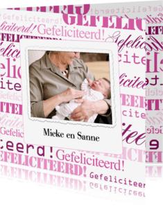 Felicitatiekaarten - Woorden Gefeliciteerd Roze - BK