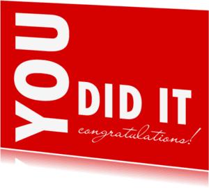 Coachingskaarten - You did it rood