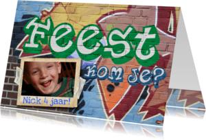 Uitnodigingen - YVON feest graffiti muur man jongen
