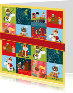 Sinterklaaskaarten - YVON sinterklaas en piet patroon 7