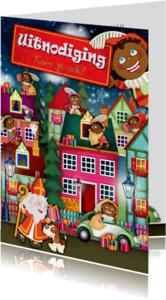 Sinterklaaskaarten - YVON sinterklaas uitnodiging straat sint