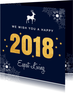 Zakelijke kerstkaarten - Zakelijke kerstkaart 2018 goud - LB