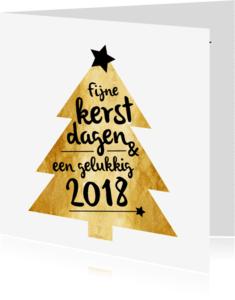 Zakelijke kerstkaarten - Zakelijke kerstkaart gouden kerstboom 2018