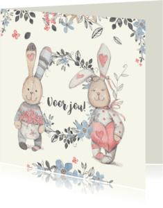 Zomaar kaarten - Zomaar-kaart bloemen en hart waterverf