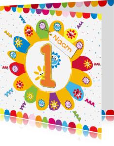 Verjaardagskaarten - zonnebloemen 1 jaar met eigen naam