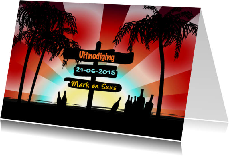 Uitnodigingen - Tropische uitnodiging palmbomen