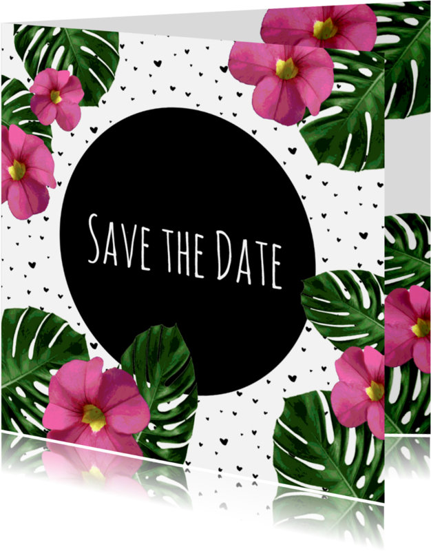 Trouwkaarten - Trouwen flora roze zwart - HR
