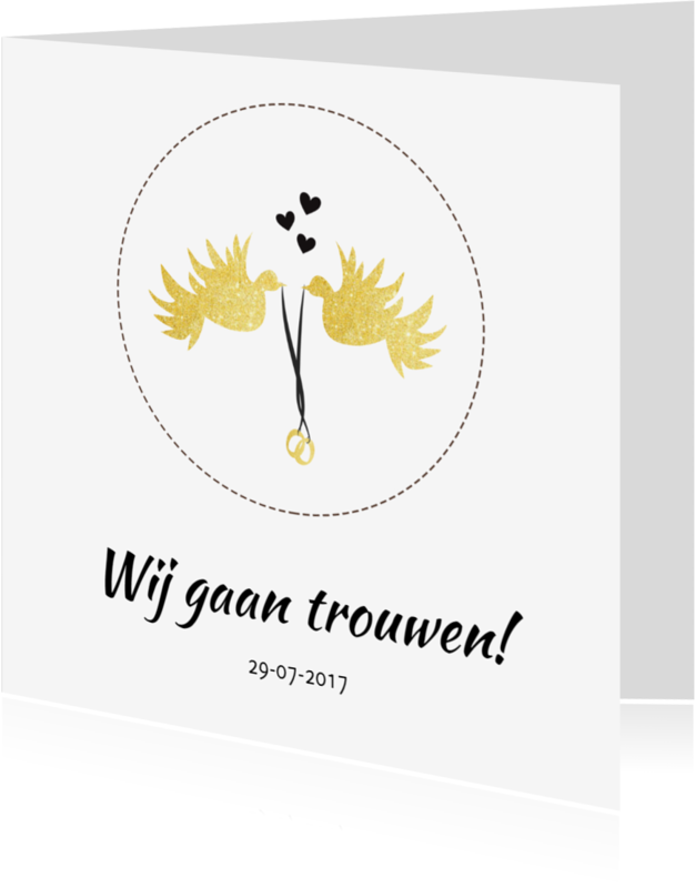Trouwkaarten - Trouwen Gouden duif - SV