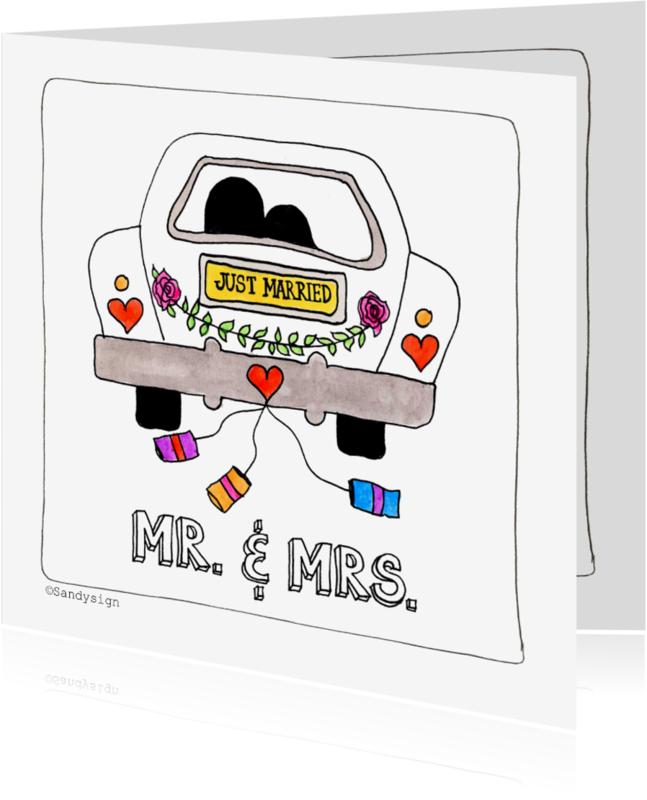 Felicitatiekaarten - TrouwenMr. & Mrs. trouwauto - SD