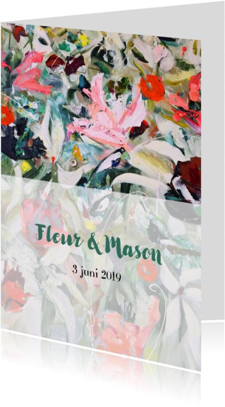 Trouwkaarten - Trouwkaart bloemen schildering