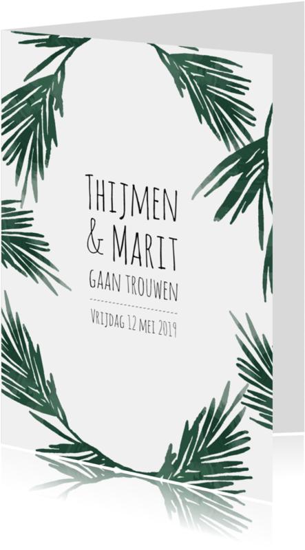 Trouwkaarten - Trouwkaart botanical - HM