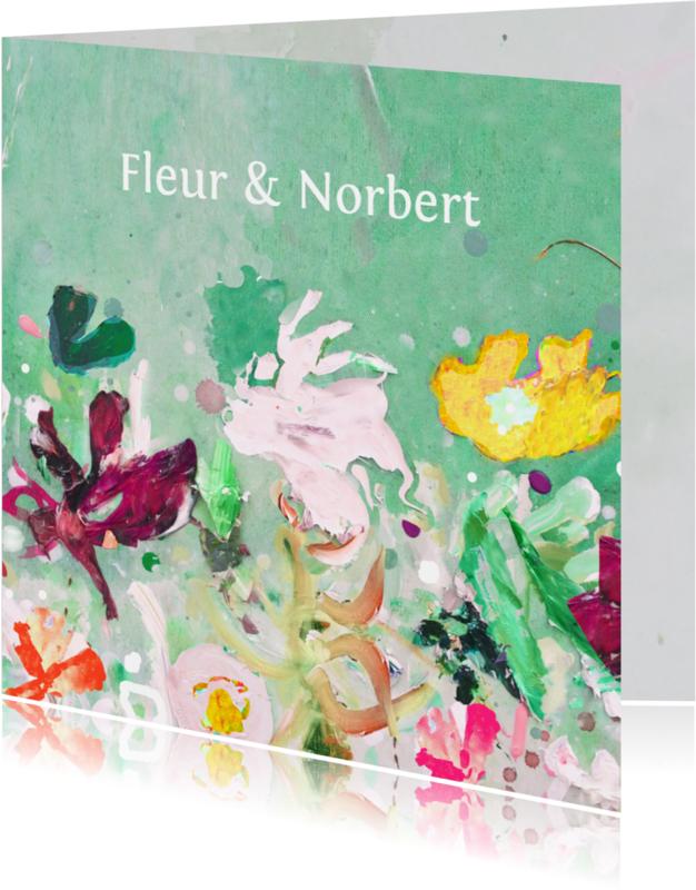 Trouwkaarten - Trouwkaart eigen txt bloemen mix