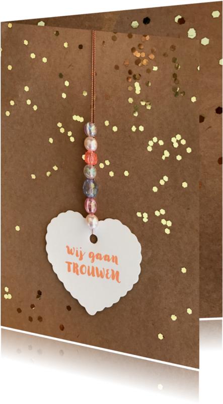 Trouwkaarten - Trouwkaart hart label karton