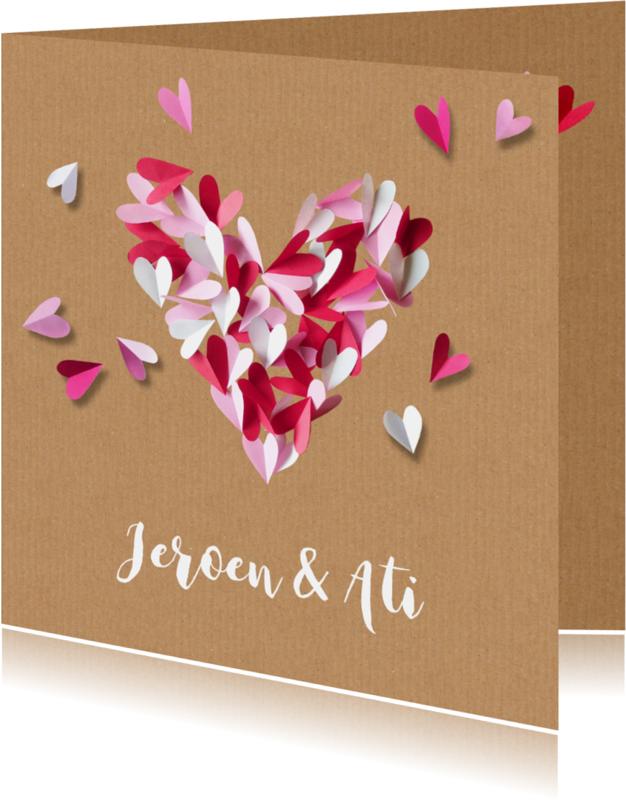 Trouwkaarten - Trouwkaart hart van papier