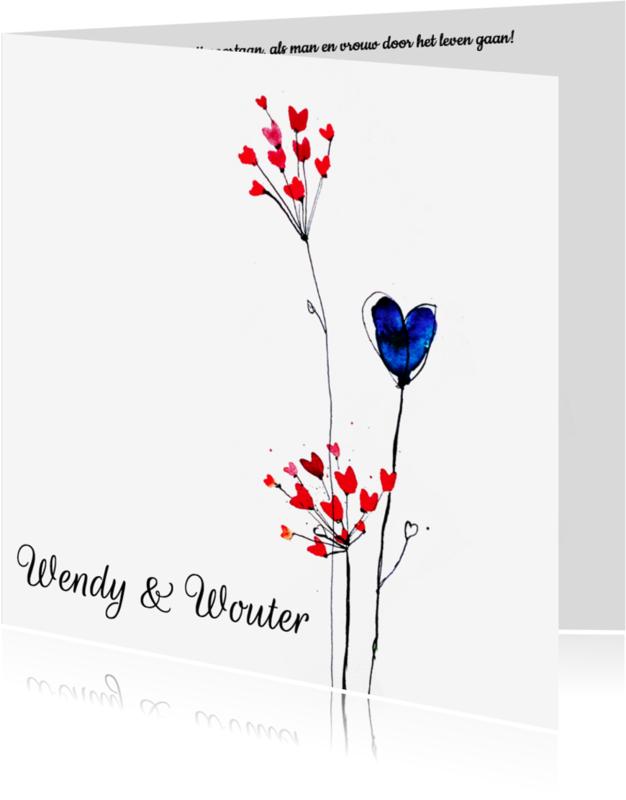 Trouwkaarten - Trouwkaart hartjes bloemen