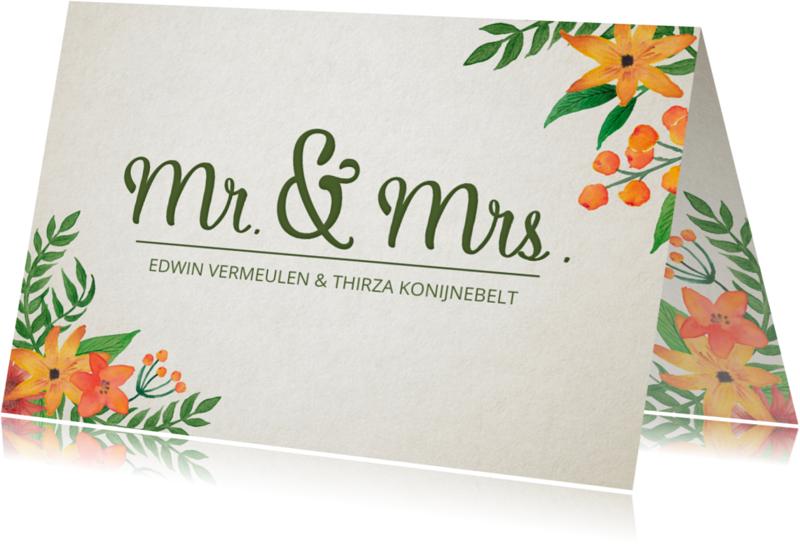 Trouwkaarten - Trouwkaart Mr. & Mrs. Bloemen