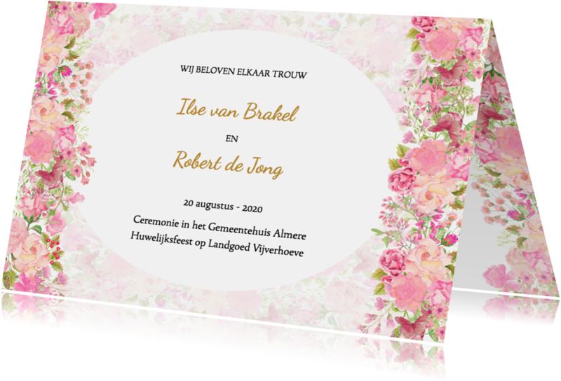 Trouwkaarten - Trouwkaart rozen pastel