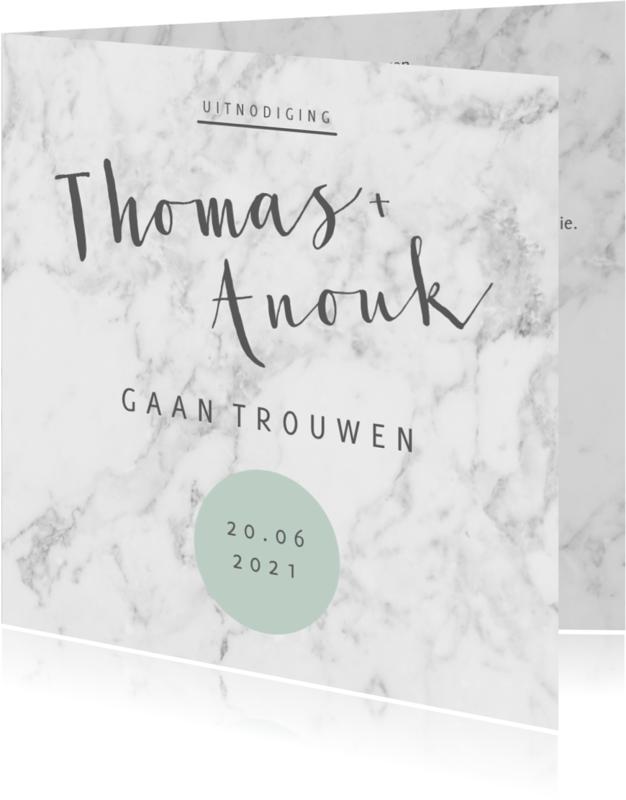 Trouwkaarten - Trouwkaart stijlvol marmerprint