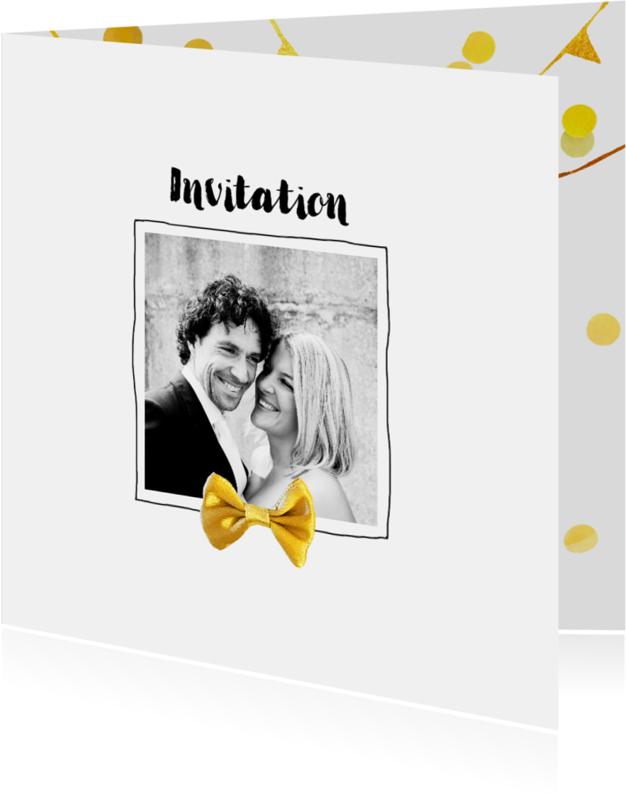 Trouwkaarten - Trouwkaart stijlvol met goud