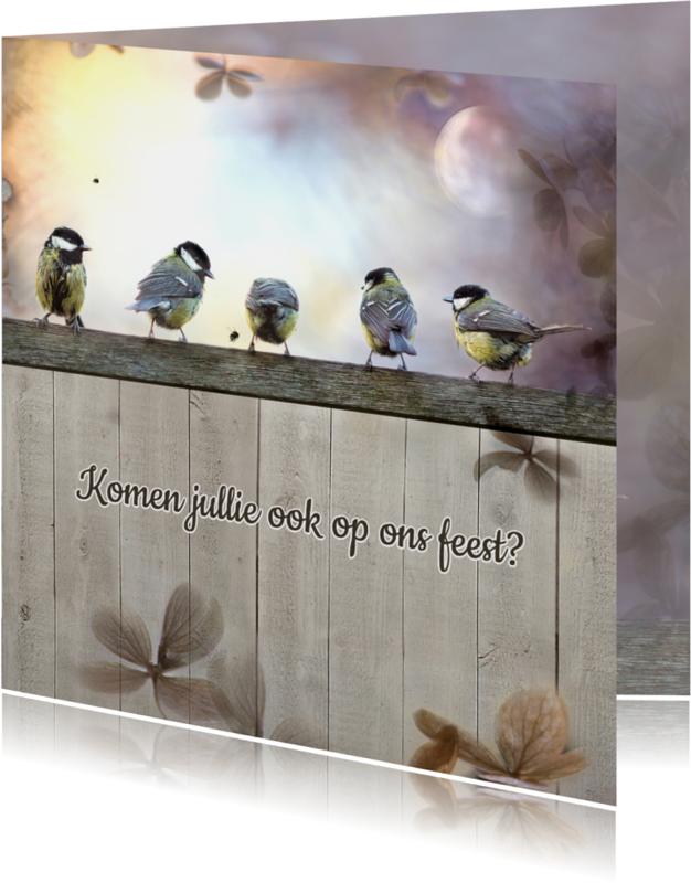 Uitnodigingen - Tuinfeest met koolmezen