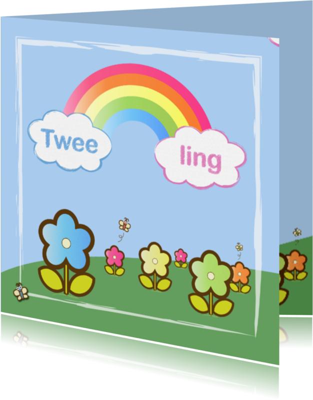 Felicitatiekaarten - tweeling meisje en jongen met regenboog2