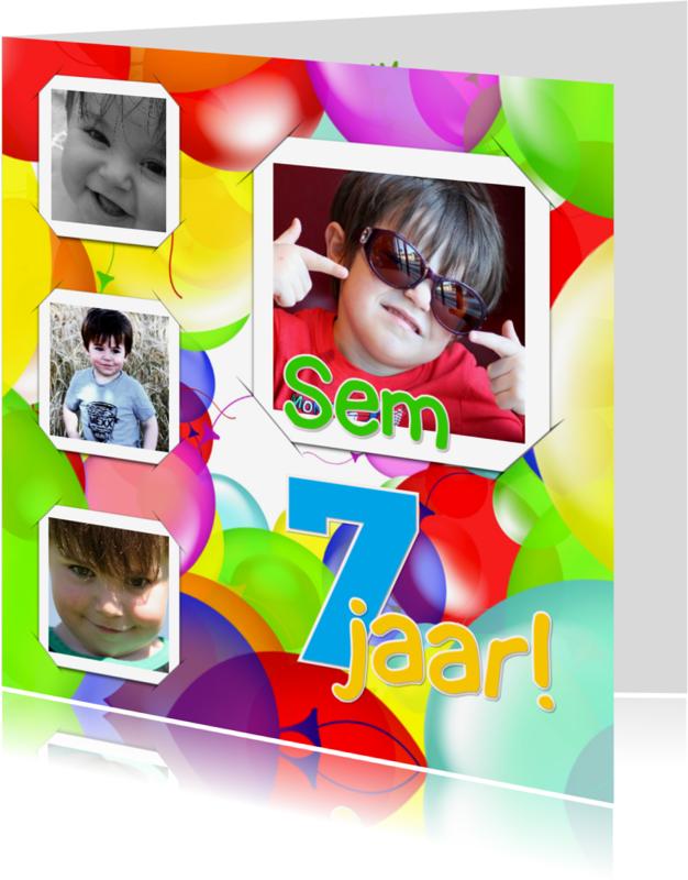 Kinderfeestjes - Uitnodiging 4x foto ballonnen RB