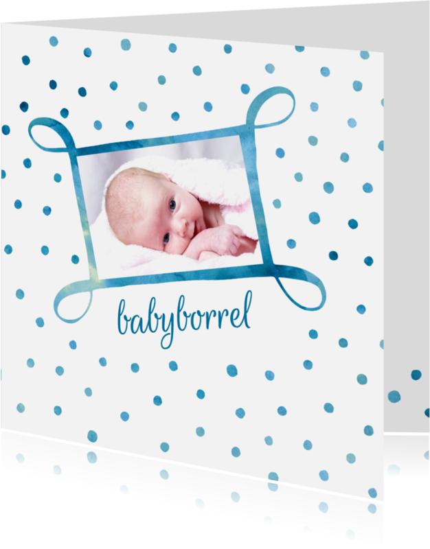 Uitnodigingen - Uitnodiging babyborrel met foto