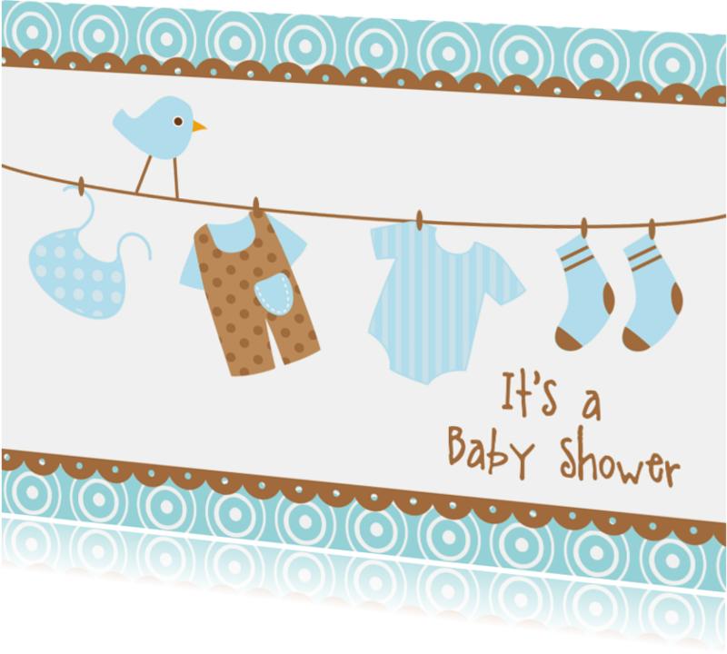 Uitnodigingen - Uitnodiging Babyshower blauw 2