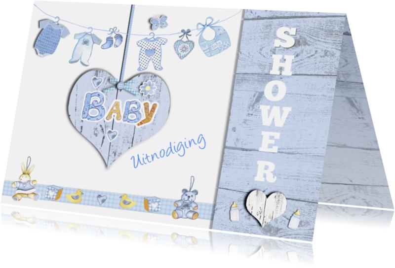 Uitnodigingen - uitnodiging babyshower jongen hart
