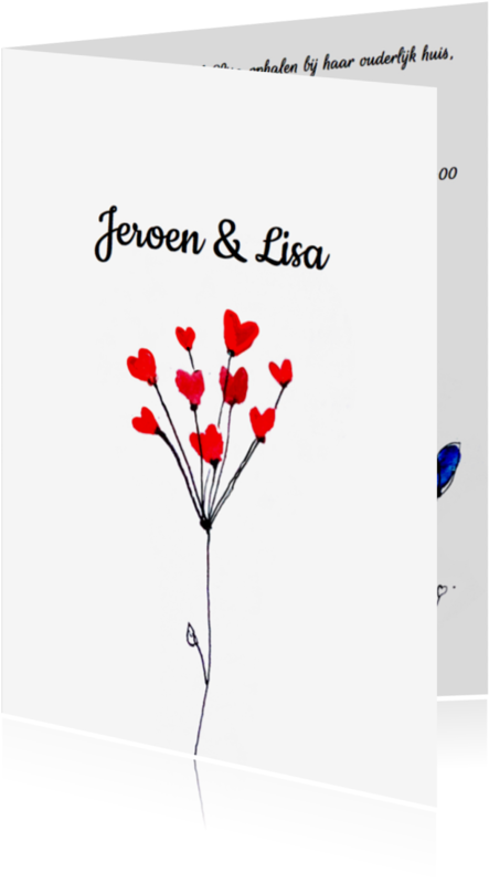 Trouwkaarten - Uitnodiging bruiloft bloem
