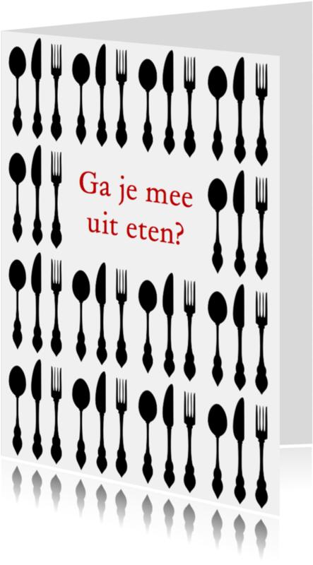 Uitnodigingen - Uitnodiging etentje zwart & wit