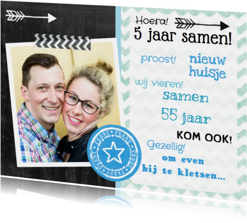 Uitnodigingen - Uitnodiging feest fotokaart